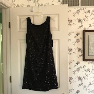 INC sequined black dress low back size M